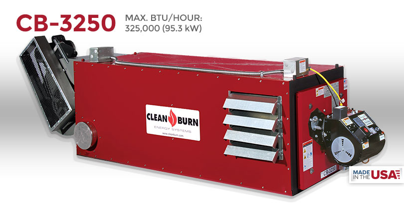 CB-3250, Waste Oil Furnace, Used Oil Furnace, Furnace, Clean Burn, Model CB-1750, 325,000 BTU/hr.