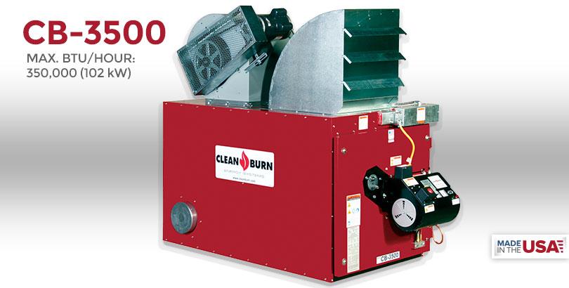 CB-3500, Waste Oil Furnace, Used Oil Furnace, Furnace, Clean Burn, Model CB-3500, 350,000 BTU/hr.
